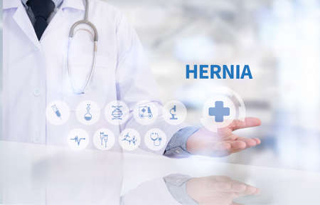 HERNIA Medicine doctor working with computer interface as medical