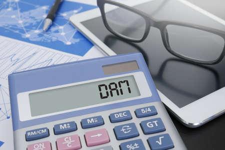 digital asset management: DAM Digital Asset Management Organization Calculator  on table with Office Supplies. ipad