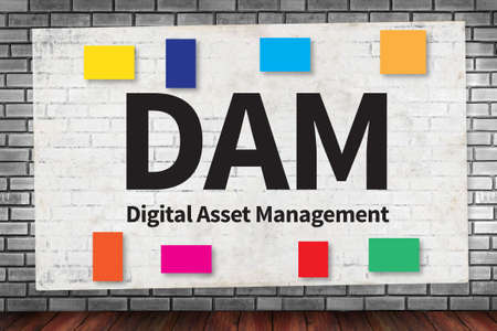 digital asset management: DAM Digital Asset Management Organization on brick wall and poster concept Stock Photo