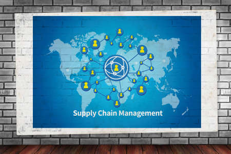 scm: SCM Supply Chain Management concept  on brick wall and poster concept