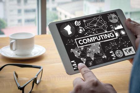 digital memory: COMPUTING (data Computer Digital Memory) Computing Computer  Laptop with screen on table Silhouette and filter sun