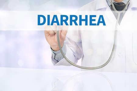 diarrea: DIARREA Medicina m�dico mano de trabajo en la pantalla virtual
