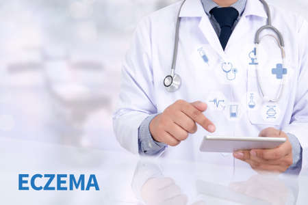 ECZEMA Medicine doctor working with computer interface as medical Stock Photo
