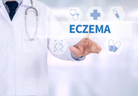 eczema: ECZEMA Medicine doctor working with computer interface as medical Stock Photo