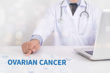 cyst: OVARIAN CANCER CONCEPT Medicine doctor working with computer interface as medical