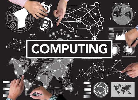 digital memory: COMPUTING (data Computer Digital Memory) businessman work on white broad, top view