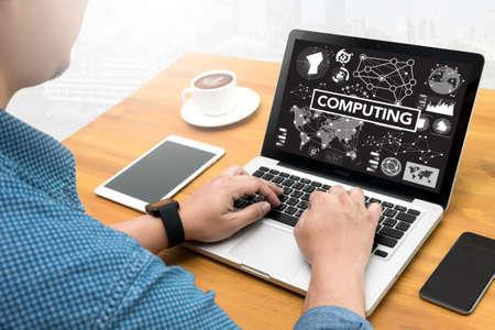 digital memory: COMPUTING (data Computer Digital Memory) Computing Computer  flare sun, Cropped image male freelancer sitting at the table