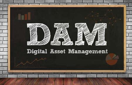 digital asset management: DAM Digital Asset Management Organization on brick wall and chalkboard background