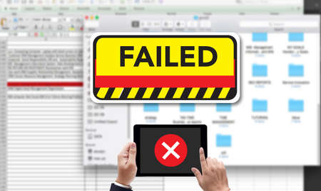 inability: NOT good Failed Fail Failing Fiasco Inability Unsuccessful it Failed, on the tablet pc screen held by businessman hands - online, top view Stock Photo