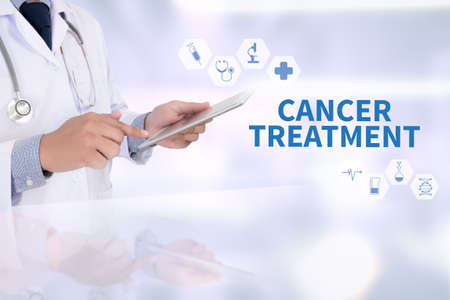 chemotherapy drug: CANCER TREATMENT Medicine doctor working with computer interface as medical