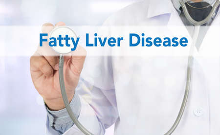 fatty liver: Fatty  Liver  Disease Medicine doctor hand working on virtual screen