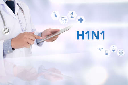 h1n1 vaccine: H1N1 Medicine doctor working with computer interface as medical