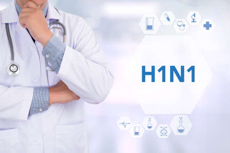 h1n1 vaccination: H1N1 Medicine doctor working with computer interface as medical