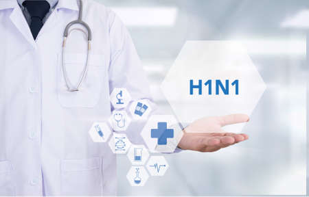 h1n1: H1N1 Medicine doctor hand working  Professional doctor use computer and medical equipment all around, desktop top view Stock Photo