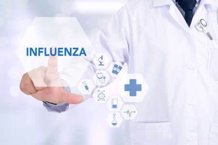 antigenic: INFLUENZA Medicine doctor working with computer interface as medical