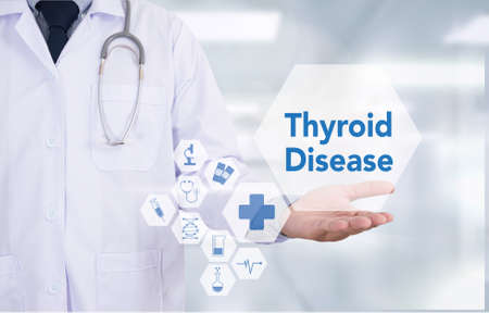 Thyroid Disease Medicine doctor hand working  Professional doctor use computer and medical equipment all around, desktop top view