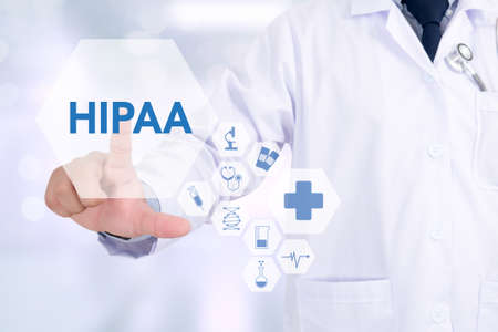 HIPAA Medicine doctor working with computer interface as medical