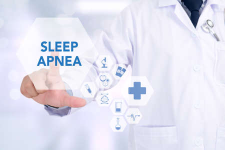 somnambulism: SLEEP APNEA Medicine doctor working with computer interface as medical
