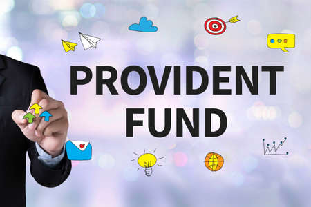 white fund: PROVIDENT FUND and Businessman drawing Landing Page on white background