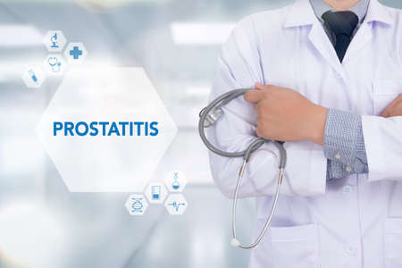 ejaculation: PROSTATITIS Medicine doctor working with computer interface as medical