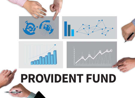 benefit: PROVIDENT FUND businessman work on white broad, top view