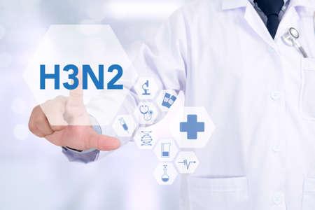 H3N2 Medicine doctor working with computer interface as medical Reklamní fotografie