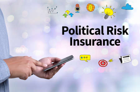 Political Risk Insurance Failure Financial  Insurance person holding a smartphone on blurred cityscape background