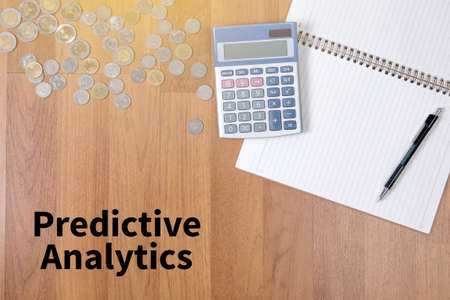 predictive: Predictive Analytics A finance Money, calculator notes, calculator top view  work Stock Photo