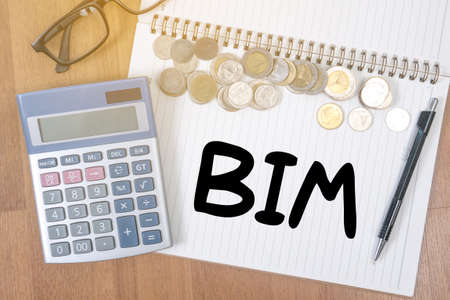 developement: BIM A finance Money, calculator notes, calculator top view with work