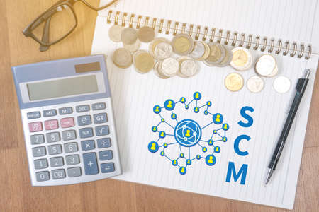 variance: SCM Supply Chain Management concept Stock Photo