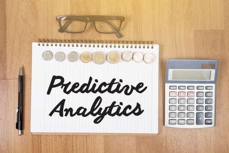 predictive: Predictive Analytics Top view of office desktop , laptop computer work