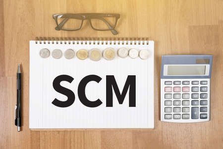 scm: SCM Supply Chain Management concept Stock Photo