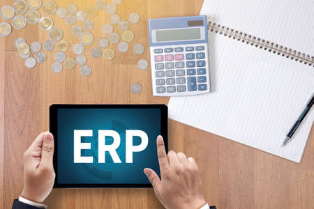erp: ERP  A finance Money, calculator notes, calculator top view  work