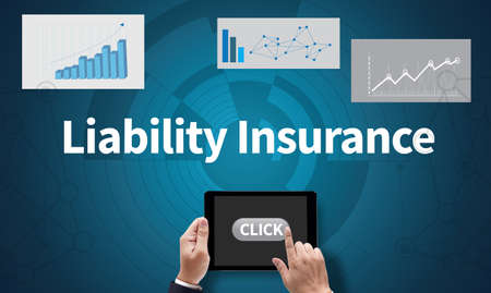 liability insurance: Form Document  Liability Insurance Money RIsk  Computing Computer  flare sun, Cropped image male freelancer sitting at the table Silhouette and filter sun, on the tablet pc screen held by businessman hands - online, top view Stock Photo