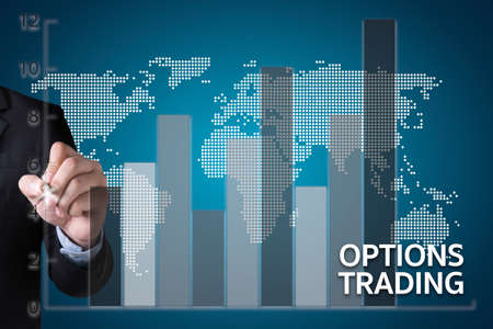 OPTIONS TRADING investment in option trade of trader Business concept