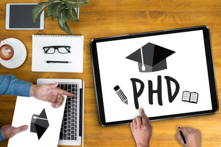 funding of science: PhD Doctor of Philosophy Degree Education Graduation Stock Photo