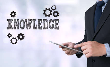 KNOWLEDGE Performance Skills Business working and Cog Stock Photo