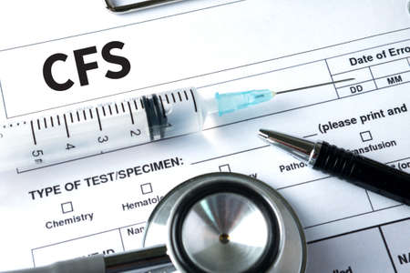 depletion: CFS  (Consolidated Financial Statement) Medical Concept: CFS - Chronic Fatigue Syndrome Stock Photo