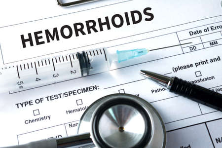 hemorrhoid: HEMORRHOIDS CONCEPT Diagnosis - Hemorrhoids. Medical Report with Composition of Medicaments