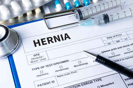 hernia: HERNIA Medical Report with Composition of Medicaments - Pills, Injections and Syringe