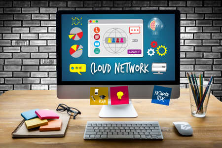 computing: Cloud Network Communication  Globalization Cloud Computing diagram Connection network technology Stock Photo