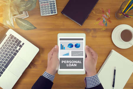 personal banking: loan, personal, finance, business, mortgage, financial, money, banking, debt, budget, loans, savings, background, concept, success, growth, board, bank, investment, economy, strategy, credit, online, bar, notebook, thinking, search, people, coffee, inform