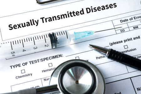 syphilis: Sexually Transmitted Diseases  HIV, HBV, HCV, Syphilis  STD  ,STOP STD Stock Photo