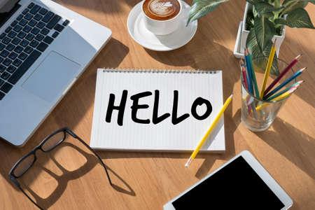Hello Hi people Greeting  Communication saying hello in English Stock Photo