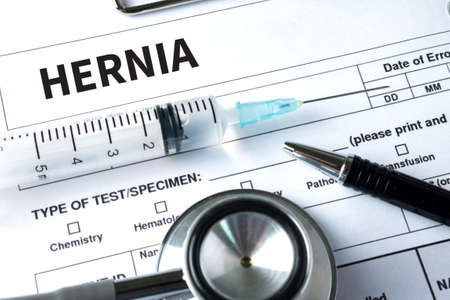 HERNIA Medical Report with Composition of Medicaments - Pills, Injections and Syringe