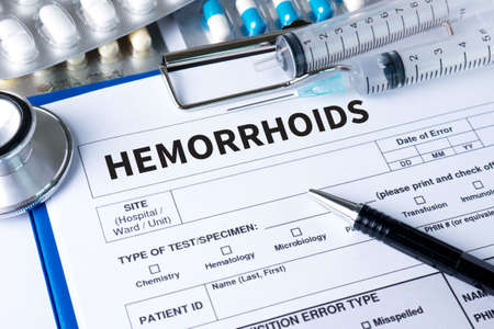 rectum cancer: HEMORRHOIDS CONCEPT Diagnosis - Hemorrhoids. Medical Report with Composition of Medicaments