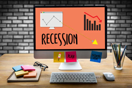 Recession Financial Risk Failure down , Business graph with arrows tending Recession , Recession, global economy crisis , Economy crisis, recession. Stock market graph down Recession Stock Photo