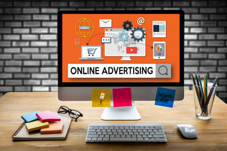 ONLINE ADVERTISING man working on laptop , Online Advertising Website Marketing , Update Trends Report News Online Advertising , Online Marketing Business Content Strategy