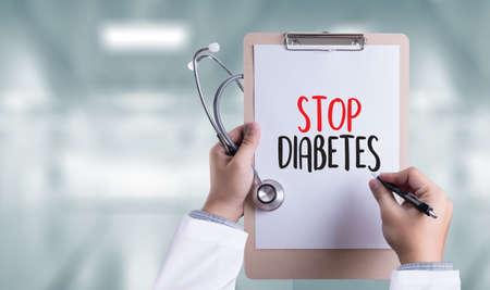 STOP HET DIABETES-CONCEPT Stop diabetes tegen gezond