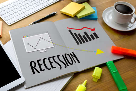 tending: Recession Financial Risk Failure down , Business graph with arrows tending Recession , Recession, global economy crisis , Economy crisis, recession. Stock market graph down Recession Stock Photo